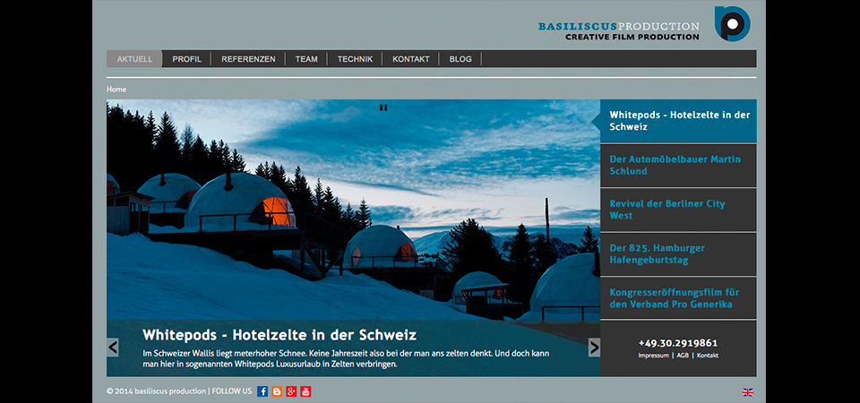 Screenshot der Webeite basiliscus.net