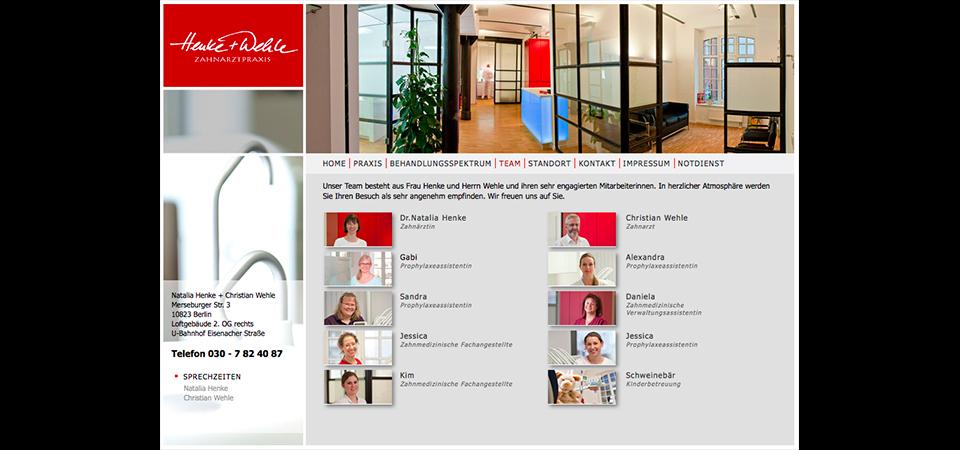 Screenshot der Webseite Zahnarztpraxis Henke & Wehle